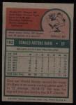 1975 Topps #182   Don Hahn Back Thumbnail