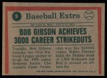 1975 Topps #3  Gibson Throws 3000th Strikeout  -  Bob Gibson Back Thumbnail