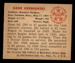 1950 Bowman #113   Gene Hermanski Back Thumbnail