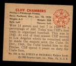 1950 Bowman #202   Cliff Chambers Back Thumbnail