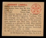 1950 Bowman #209  Johnny Lindell  Back Thumbnail