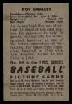 1952 Bowman #64  Roy Smalley  Back Thumbnail