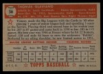 1952 Topps #56 RED  Tommy Glaviano Back Thumbnail