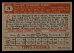 1952 Topps #76 RED  Eddie Stanky Back Thumbnail