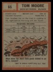 1962 Topps #65  Tom Moore  Back Thumbnail