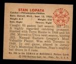 1950 Bowman #206   Stan Lopata Back Thumbnail