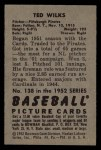 1952 Bowman #138   Ted Wilks Back Thumbnail