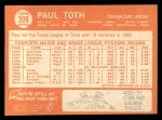 1964 Topps #309 COR Paul Toth  Back Thumbnail