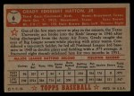1952 Topps #6 RED  Grady Hatton Back Thumbnail