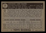 1952 Topps #24 BLK Luke Easter  Back Thumbnail