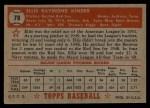 1952 Topps #78 RED  Ellis Kinder Back Thumbnail