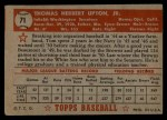 1952 Topps #71 RED  Tom Upton Back Thumbnail