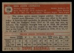 1952 Topps #110   Dutch Leonard Back Thumbnail