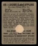 1949 Leaf #59   Luke Appling Back Thumbnail