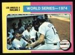 1975 Topps #462  1974 World Series - Game #2  -  Walter Alston / Joe Ferguson Front Thumbnail