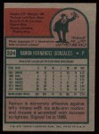 1975 Topps #224   Ramon Hernandez Back Thumbnail