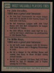 1975 Topps #203  1965 MVPs  -  Zoilo Versalles / Willie Mays Back Thumbnail