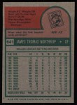 1975 Topps #641   Jim Northrup Back Thumbnail