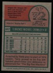 1975 Topps #447   Terry Crowley Back Thumbnail