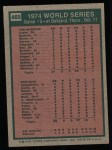 1975 Topps #465   -  Joe Rudi / Ron Cey 1974 World Series - Game #5 Back Thumbnail