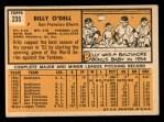 1963 Topps #235  Billy O'Dell  Back Thumbnail