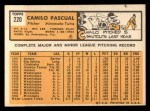 1963 Topps #220   Camilo Pascual Back Thumbnail