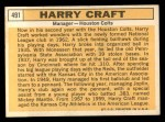 1963 Topps #491   Harry Craft Back Thumbnail