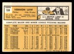 1963 #184  Vern Law  Back Thumbnail