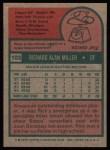 1975 Topps #103   Rick Miller Back Thumbnail