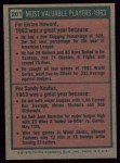 1975 Topps #201  1963 MVPs  -  Elston Howard / Sandy Koufax Back Thumbnail