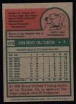 1975 Topps #472   Bruce Dal Canton Back Thumbnail