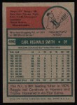 1975 Topps #490   Reggie Smith Back Thumbnail
