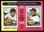1975 Topps #203  1965 MVPs  -  Zoilo Versalles / Willie Mays Front Thumbnail