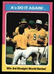 1975 Topps #466  1974 World Series - Summary - A's Do it Again  -  Rollie Fingers / Reggie Jackson / Dick Williams Front Thumbnail