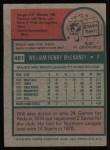 1975 Topps #481   Will McEnaney Back Thumbnail