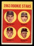 1963 Topps #299  Rookies    -  Dave Morehead / Tom Butters / Dan Schneider / Bob Dustal Front Thumbnail