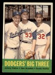 1963 Topps #412  Dodgers' Big 3  -  Johnny Podres / Don Drysdale / Sandy Koufax Front Thumbnail