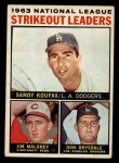 1964 Topps #5  1963 NL Strikeout Leaders  -  Sandy Koufax / Jim Maloney / Don Drysdale Front Thumbnail