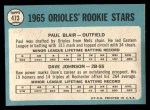 1965 Topps #473   Orioles Rookie Stars  -  Paul Blair / Davey Johnson Back Thumbnail