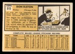 1963 Topps #515  Don Elston  Back Thumbnail