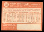 1964 #367  Fred Whitfield  Back Thumbnail