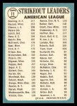 1965 Topps #11  AL Strikeout Leaders  -  Dean Chance / Al Downing / Camilo Pascual Back Thumbnail