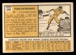 1963 Topps #548   Tom Satriano Back Thumbnail