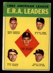 1963 Topps #6  AL ERA Leaders  -  Whitey Ford / Dean Chance / Hank Aguirre / Eddie Fisher / Robin Roberts Front Thumbnail