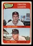 1965 Topps #7  AL ERA Leaders  -  Dean Chance / Joel Horlen Front Thumbnail