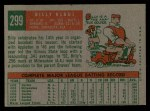 1959 Topps #299  Billy Klaus  Back Thumbnail