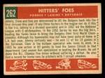 1959 Topps #262  Hitters' Foes  -  Clem Labine / Johnny Podres / Don Drysdale Back Thumbnail