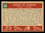 1959 Topps #383  Words of Wisdom  -  Casey Stengel / Don Larson Back Thumbnail