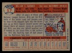 1957 Topps #17   Billy Gardner Back Thumbnail