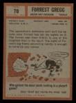 1962 Topps #70   Forrest Gregg Back Thumbnail